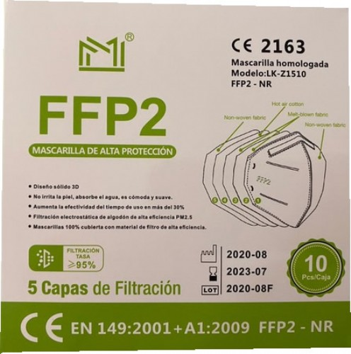 CAJA 10 UNIDADES MASCARILLAS FFP2 COLORES