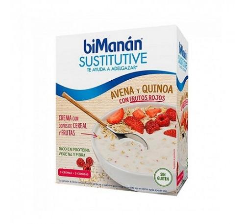 Bimanan sustitutive avena y quinoa con frutos rojos (55 g 5 sobres)