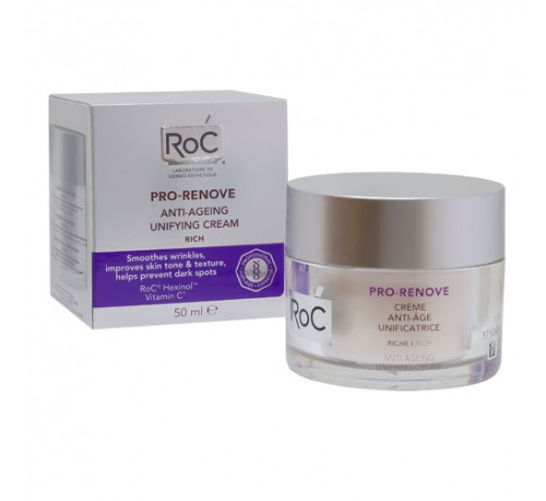 Roc pro-renove crema antiedad unificante - textura rica (1 envase 50 ml)