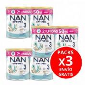 Pack de 3 unidades de duplos Nan optipro 3 (2 envases 800 g). Total 6 unidades