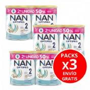 3 unidades DUPLO Nan optipro 2 leche de continuacion (2 envases 800 g). Total 6 unidades