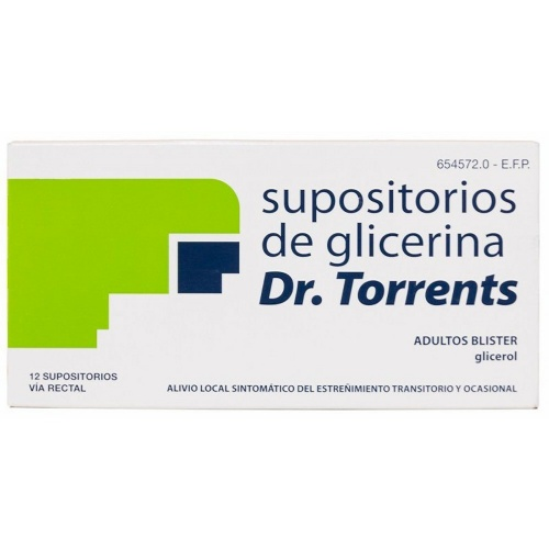 SUPOSITORIOS GLICERINA DR. TORRENTS ADULTOS BLISTER, 12 supositorios