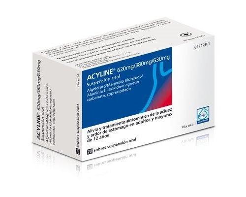 ACYLINE 620 mg/380 mg/630 mg  SUSPENSION ORAL , 20 sobres de 10 ml
