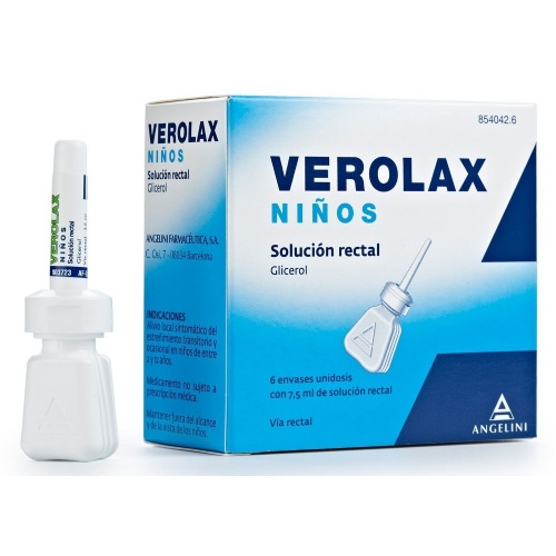 VEROLAX NIÑOS SOLUCION RECTAL, 6 enemas de 2,5 ml