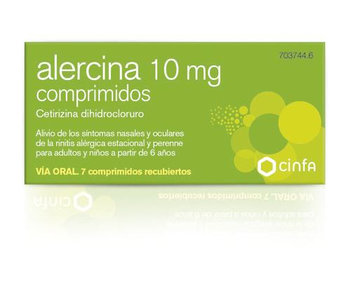 ALERCINA 10 mg COMPRIMIDOS , 7 comprimidos