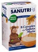 Sanutri papilla 8 cereales con galleta maria (2 bolsas 300 g)
